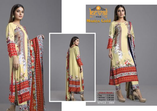 Keval Fab Mariya Gold Lawn Collection Tropical Edition Salwar Kameez