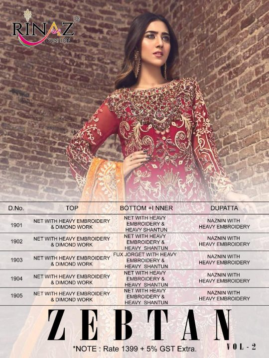 Zebtan Vol 2 Rinaz Fashion Salwar Kameez 🙏🏻Dear Sir/Madam... Thanks for your support.🤗 🎁Today RINAZ-FASHION hitting market again with exclusively trending series of pakistani concepts 💕 -ZEBTAN VOL.2-🌲 Premium Collection 👇🏻Fabric details 👇🏻 👗 Top : Net with Heavy Embroidery&Diamond work 👖Bottom inner-Net with Heavy embroidery& Dul shantun 🔺Dupatta : Naznin With Heavy embroidery 🔻Price : 💸 1399 /+ GST ❤5 pcs 🚶🏻🚶🏻🏃🏼🏃🏼🏃🏼Hurry up... 📦LIMITED STOCK 📦 🔸pre booking only 🔹book your order fast Limited stock-Delivery-6 January